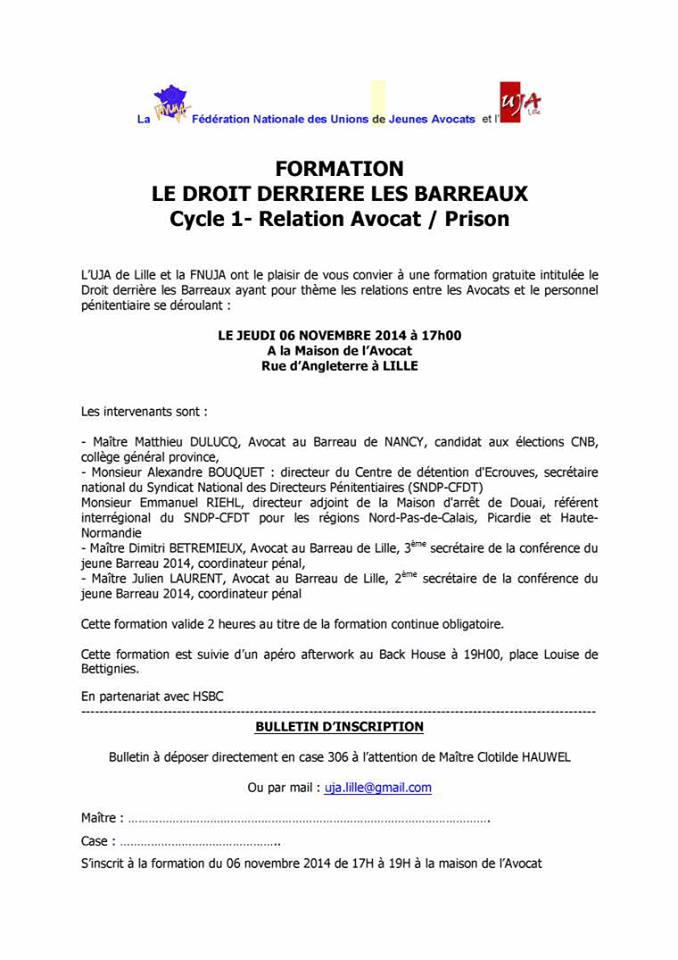 Lille Formation Le Droit Derriere Les Barreaux