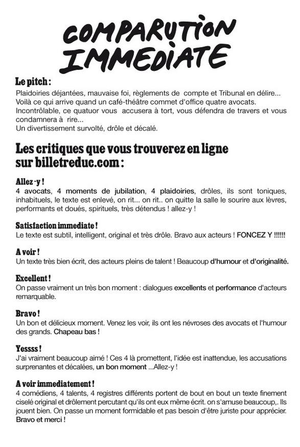 Permis de visite... pour la pièce 'Comparution immédiate' (Paris)