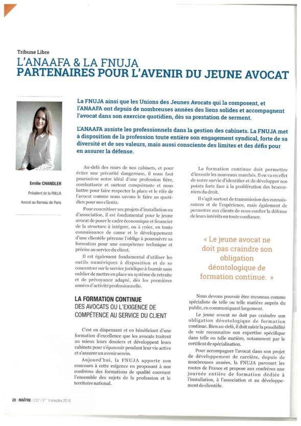 L'Anaafa et la Fnuja, partenaires pour l'avenir du jeune avocat