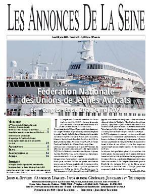 Le discours de Pascale Fombeur (Ministère de la Justice) et le Congrès de la FNUJA 2009 dans les Annonces de la Seine