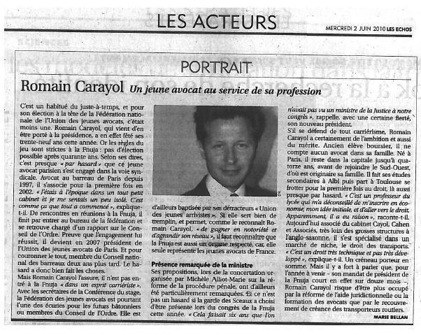 Romain CARAYOL - Un Jeune Avocat au service de sa profession.