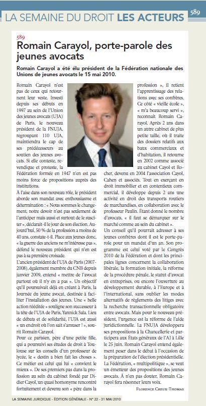 Romain CARAYOL, Porte-parole des Jeunes Avocats