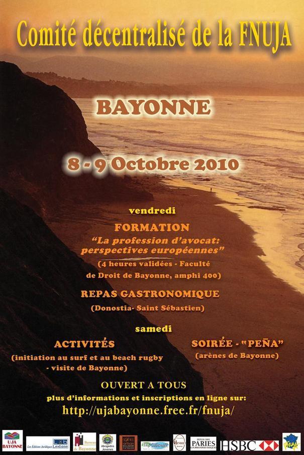COMITE FNUJA DECENTRALISE A BAYONNE, les 8 et 9 Octobre prochain