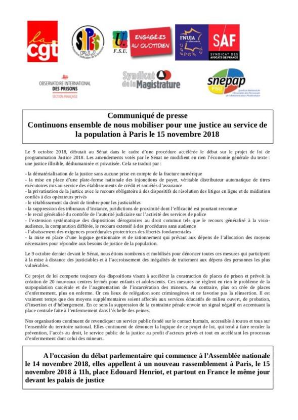 Rassemblement anti-PJL Justice le 15 novembre, 11H, à l'Assemblée nationale, place Edouard Henriot et devant tous les palais de Justice de France !