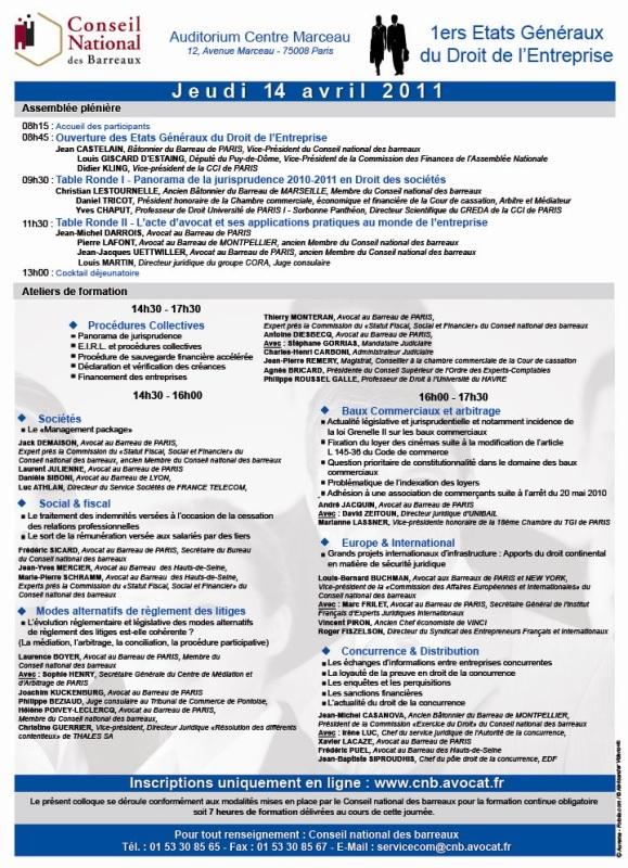 1ers Etats Généraux du Droit de l'Entreprise - Le 14 Avril 2011