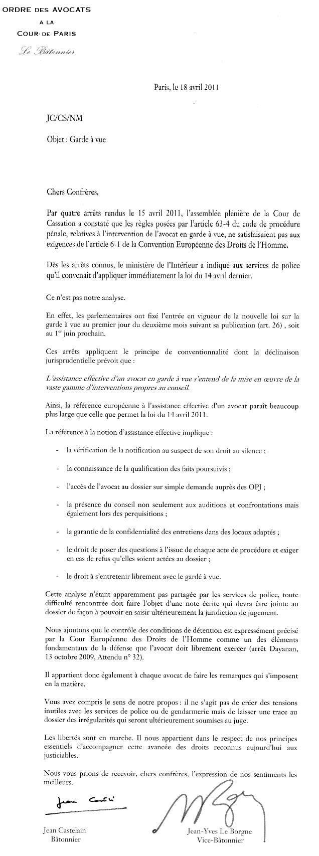 Garde à Vue : Lettre du Bâtonnier de Paris aux Avocats Parisiens