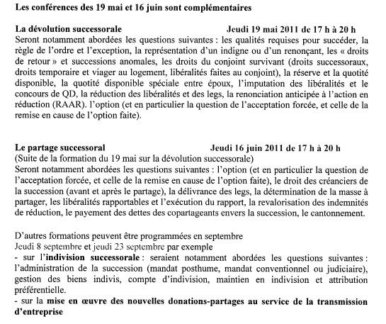 NANTERRE - Formations : Dévolution et Partage successoral