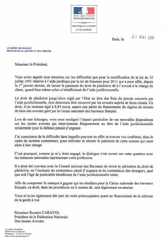 Droits de Plaidoiries : Réponse du Garde des Sceaux au Président de la FNUJA