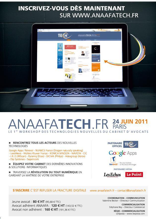 L'ANAAFATECH - Le 24 Juin 2011 - Premier Workshop des technologies nouvelles du cabinet d'avocats