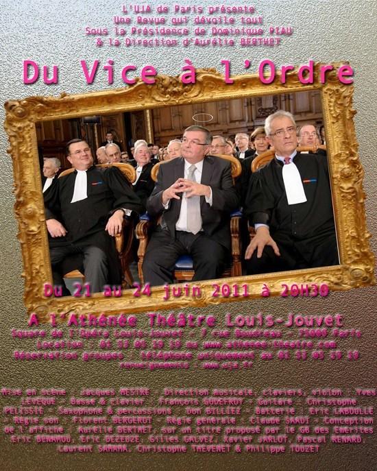La Revue de l'UJA de PARIS - DU VICE A L'ORDRE - Du 21 au 24 Juin 2011 à l'ATHENEE - Théâtre Louis JOUVET