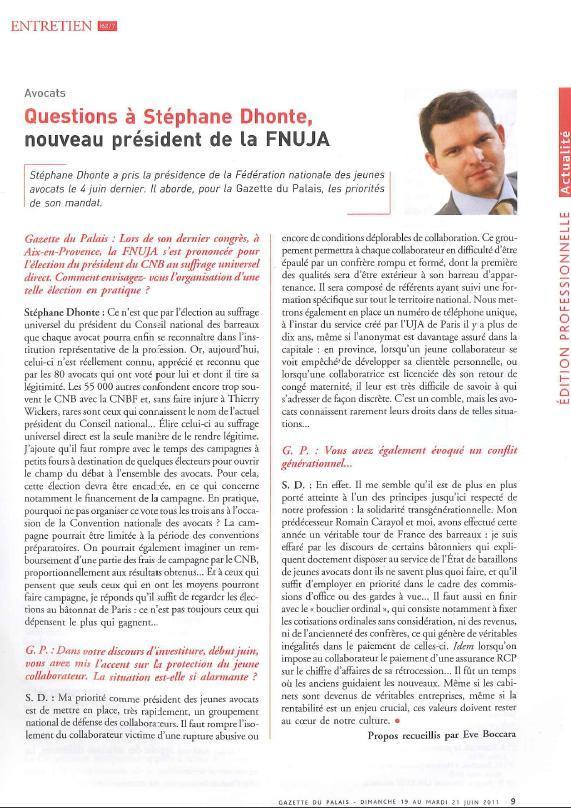 Interview de Stéphane DHONTE, Président de la FNUJA, dans la Gazette du Palais