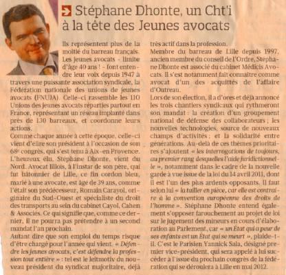 LE FIGARO : Portrait de Stéphane DHONTE, Président de la FNUJA