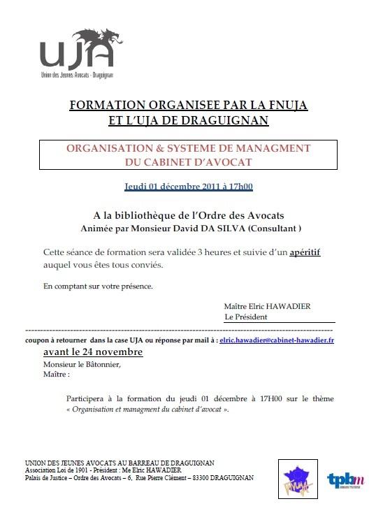 DRAGUIGNAN - Formation : ORGANISATION & SYSTEME DE MANAGMENT DU CABINET D'AVOCATS