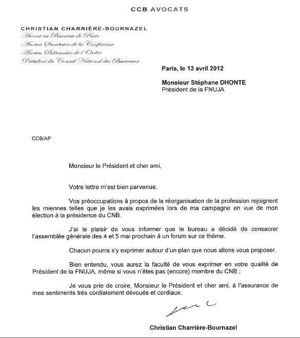 Gouvernance : Réponse du Président du CNB à la Lettre Ouverte du Président de la FNUJA
