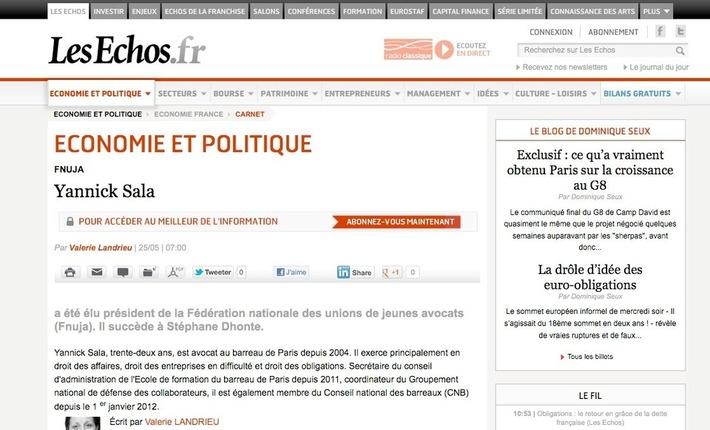"""""""Les Echos.fr"""" annonce l'élection de Yannick SALA à la présidence de la FNUJA"""