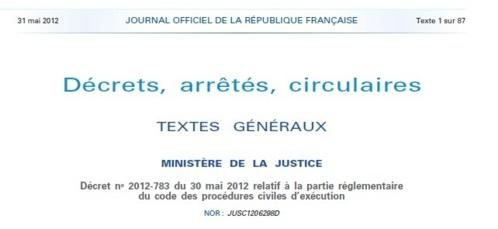 Publication du Décret n° 2012-783 du 30 mai 2012 relatif à la partie réglementaire du code des procédures civiles d'exécution