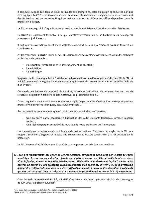 Contribution de la FNUJA sur la formation professionnelle des avocats
