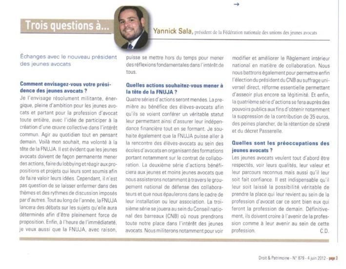DROIT ET PATRIMOINE : 3 Questions à... Yannick SALA