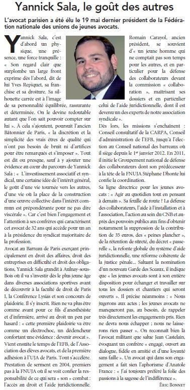 La Semaine Juridique  : Yannick SALA, le Goût des Autres