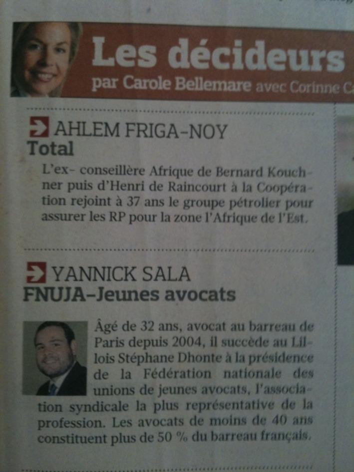 LE FIGARO - Les Décideurs : FNUJA - Jeunes Avocats : Yannick SALA
