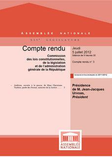 """Audition du Garde des Sceaux par la """"Commission des Lois"""" de l'Assemblée Nationale"""