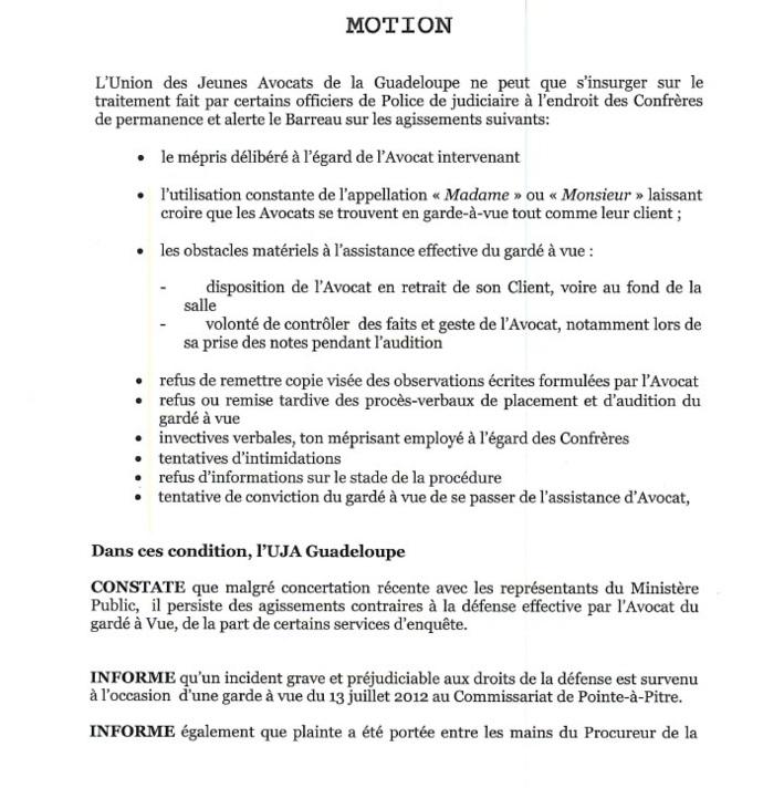 GUADELOUPE : Motion dénonçant les incidents graves survenus en Garde à Vue, le 13 Juillet 2012