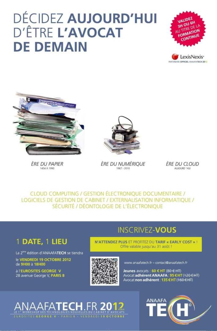 2ème édition de l'ANAAFATECH - Premier Workshop des technologies nouvelles du cabinet d'avocats