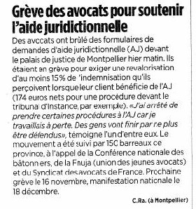 AJ : Dossiers d'AJ brûlés publiquement à Montpellier