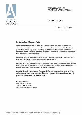Le Barreau de Paris sera en grève le 1er décembre