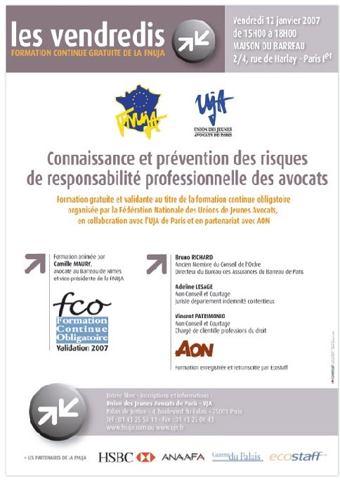 FORMATION GRATUITE LE 12 JANVIER : 'Connaissance et prévention des risques de responsabilité professionnelle des avocats'