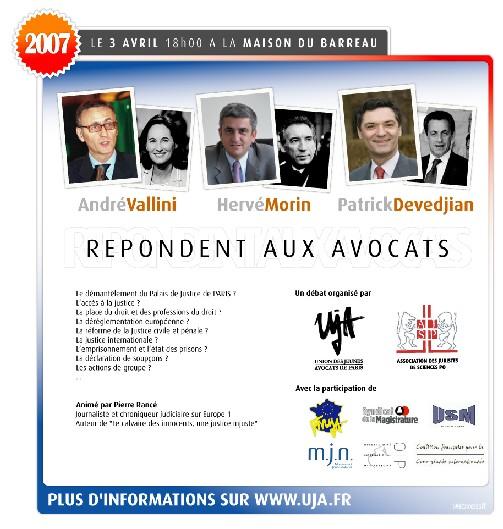 UJA de Paris: Conférence-débat le 3 avril 2007 sur la justice après les élections présidentielle et législatives