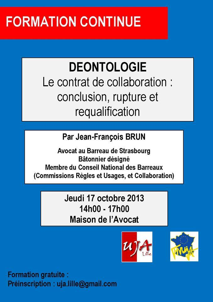 LILLE - Formation : Le Contrat de Collaboration - le 17 octobre 2013