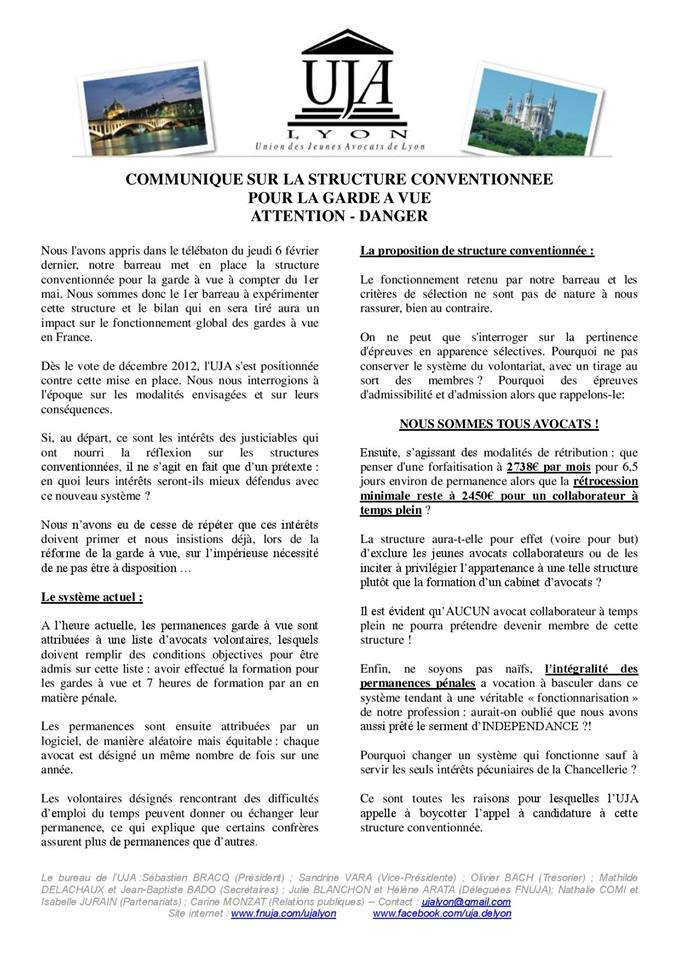 LYON : Communiqué sur les Structures conventionnées pour la Garde à vue
