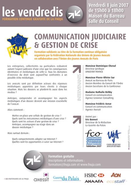 Formation le 8 juin à Paris : 'Communication judiciaire et gestion de crise'