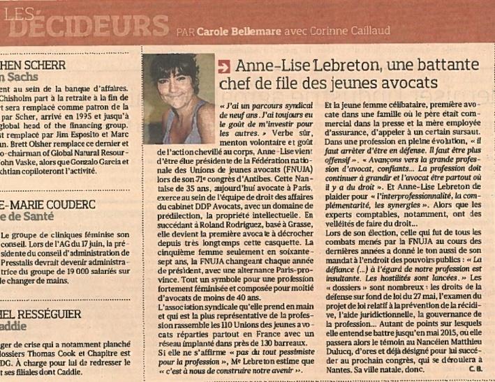 Anne-Lise LEBRETON, Une battante Chef de file des jeunes avocats