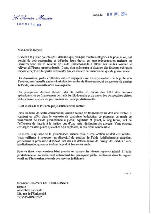 AJ : Lettre de mission de Monsieur le Député LE BOUILLONNEC