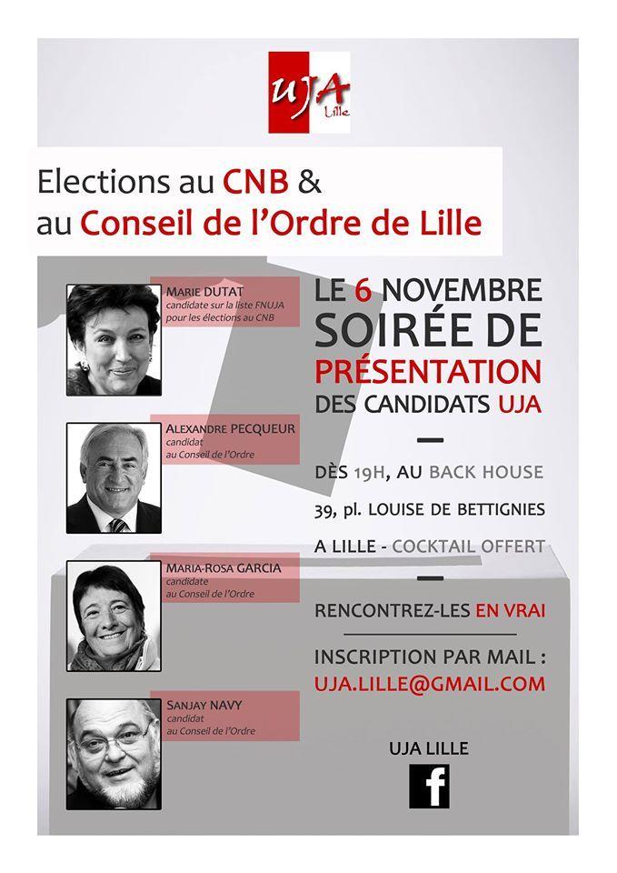 LILLE - Elections CNB et Conseil de l'Ordre - Présentation des candidats