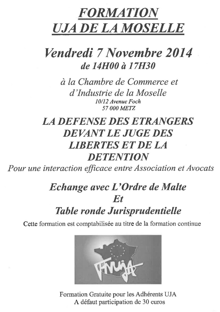 METZ - Formation: La défense des étrangers devant le Juge des libertés et de la détention