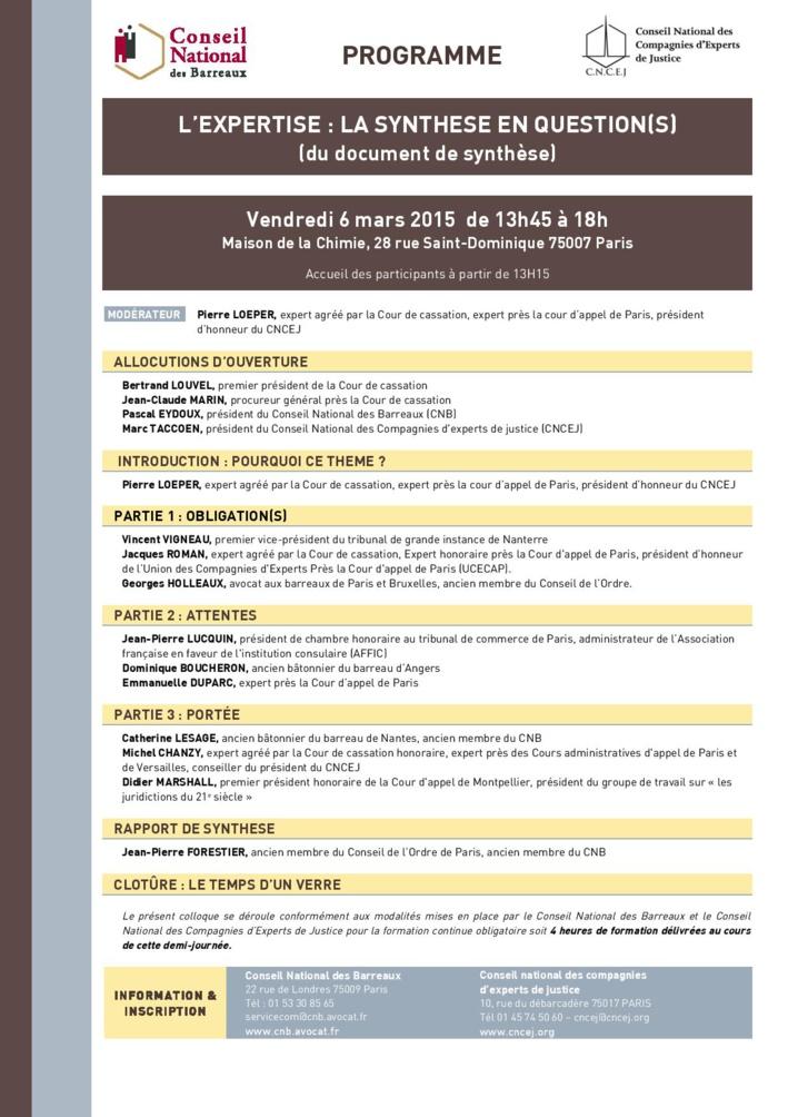 Colloque annuel commun du CNB et du CNCEJ : «l'expertise, la synthèse en question(s)» le 6 mars 2015