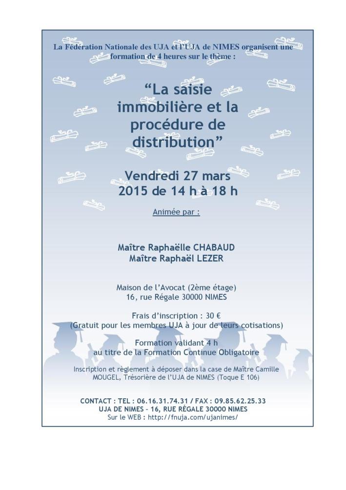 NIMES - Formation: La saisie immobilière et la procédure de distribution
