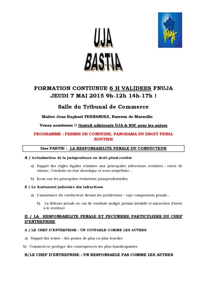 BASTIA -  FORMATION: PERMIS DE CONDUIRE, PANORAMA DU DROIT PENAL ROUTIER