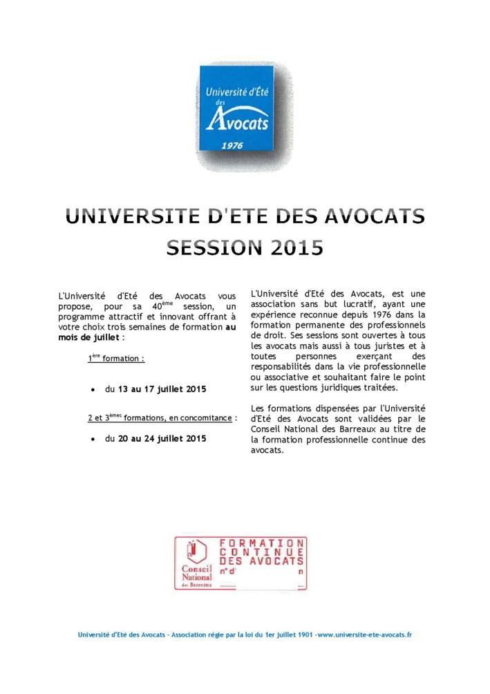 Université d'été des Avocats: programme de formations