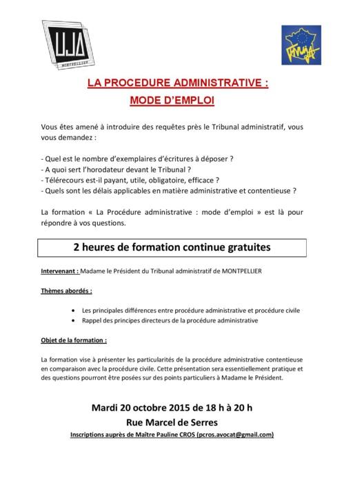 MONTPELLIER - Formation: la procédure administrative: mode d'emploi