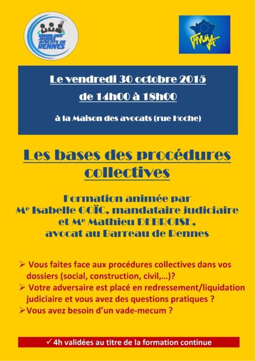 RENNES - Formation: les bases des procédures collectives