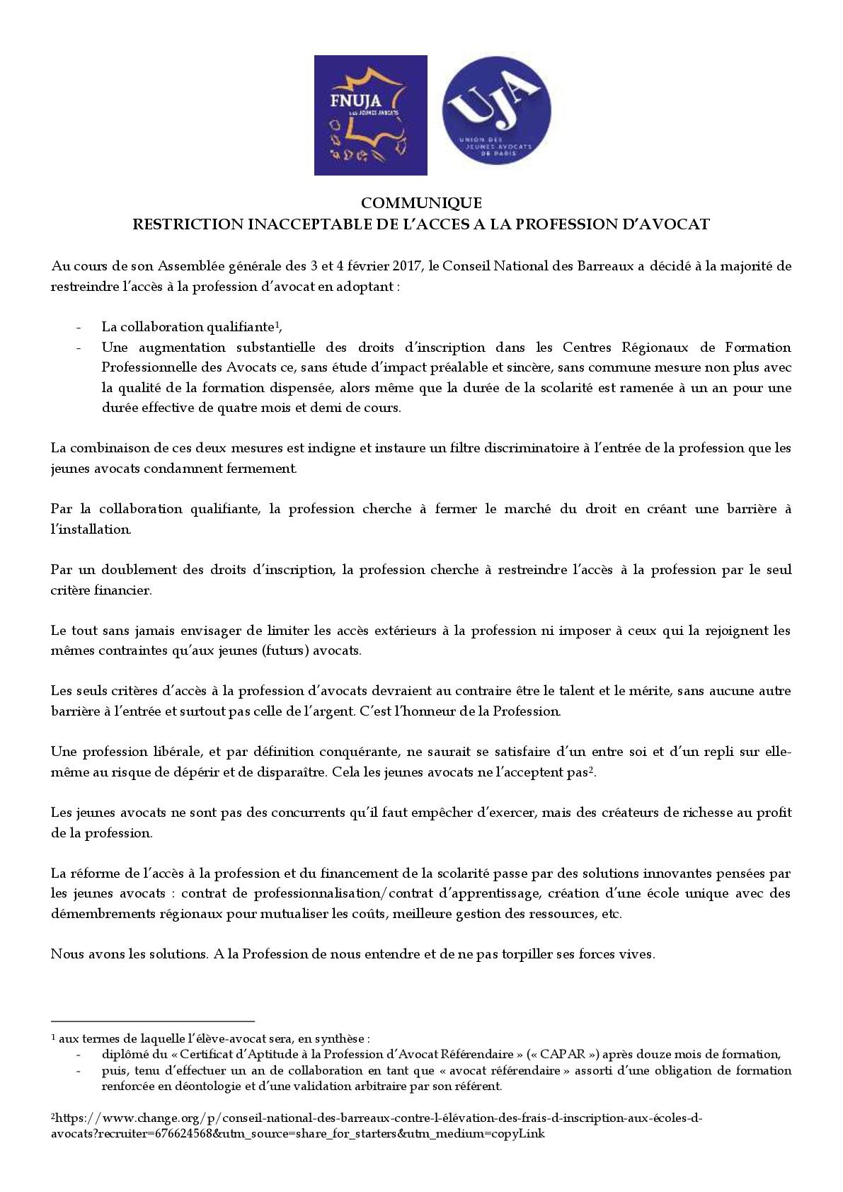 ALERTE : RESTRICTION INACCEPTABLE DE L'ACCES A LA PROFESSION D'AVOCAT