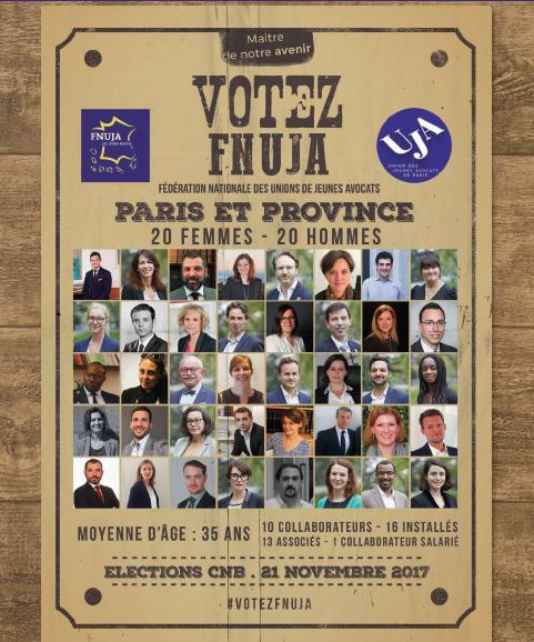ELECTIONS CNB DU 21 NOVEMBRE 2017 : Les candidats des Jeunes Avocats !