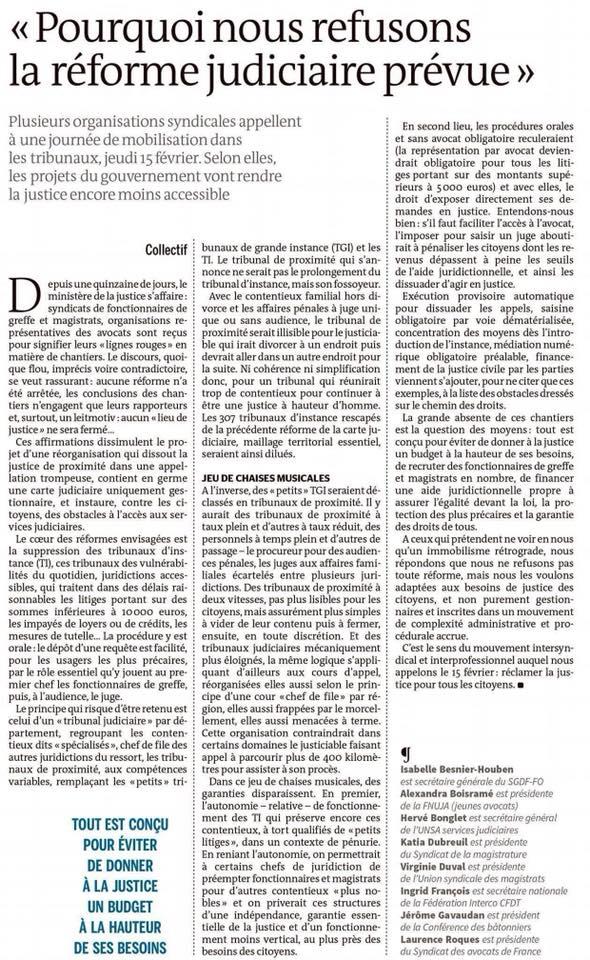 Pourquoi nous refusons la réforme judiciaire prévue ! Tribune Le Monde