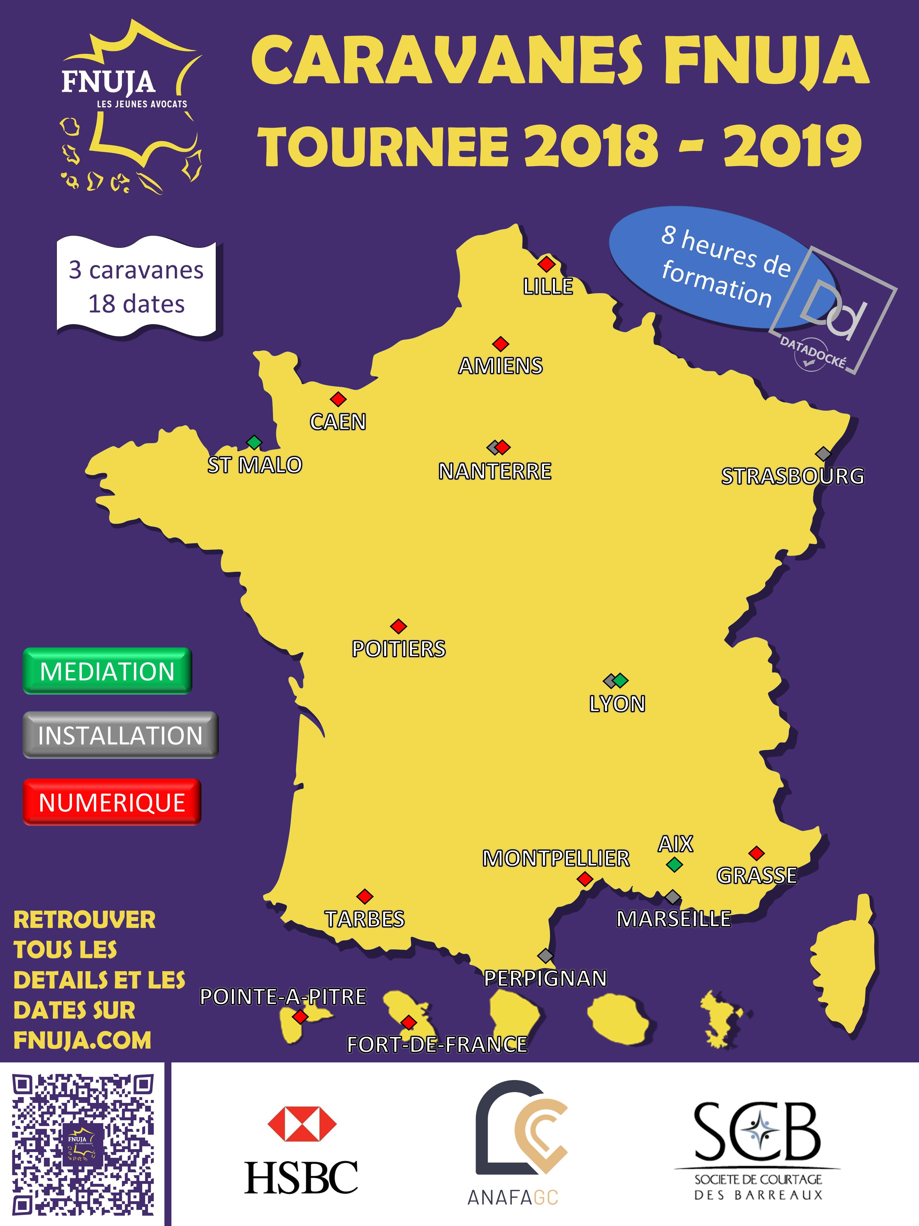 Les caravanes de la FNUJA - Tournée 2018-2019