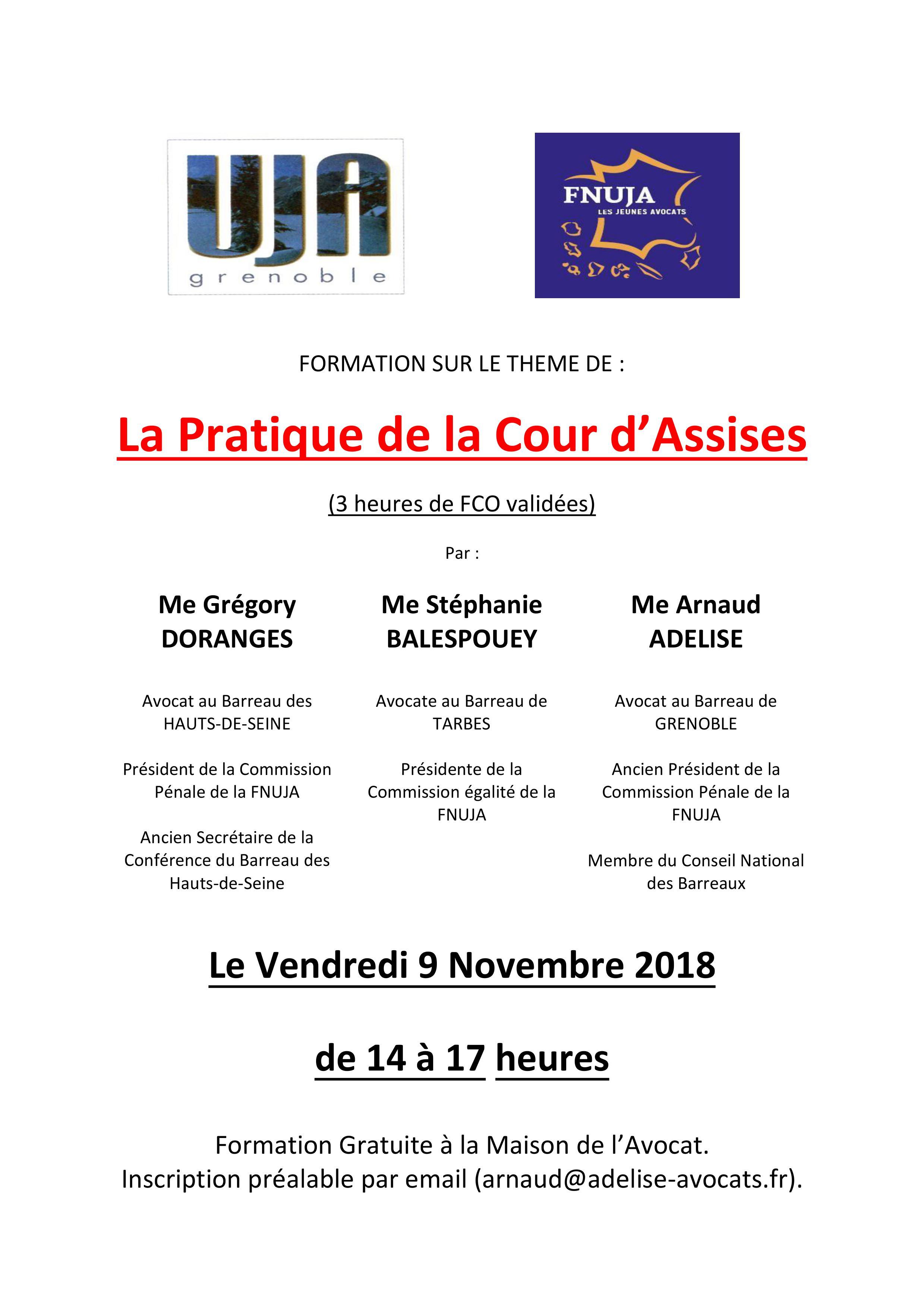 Formation - La pratique de la Cour d'assise - UJA de Grenoble