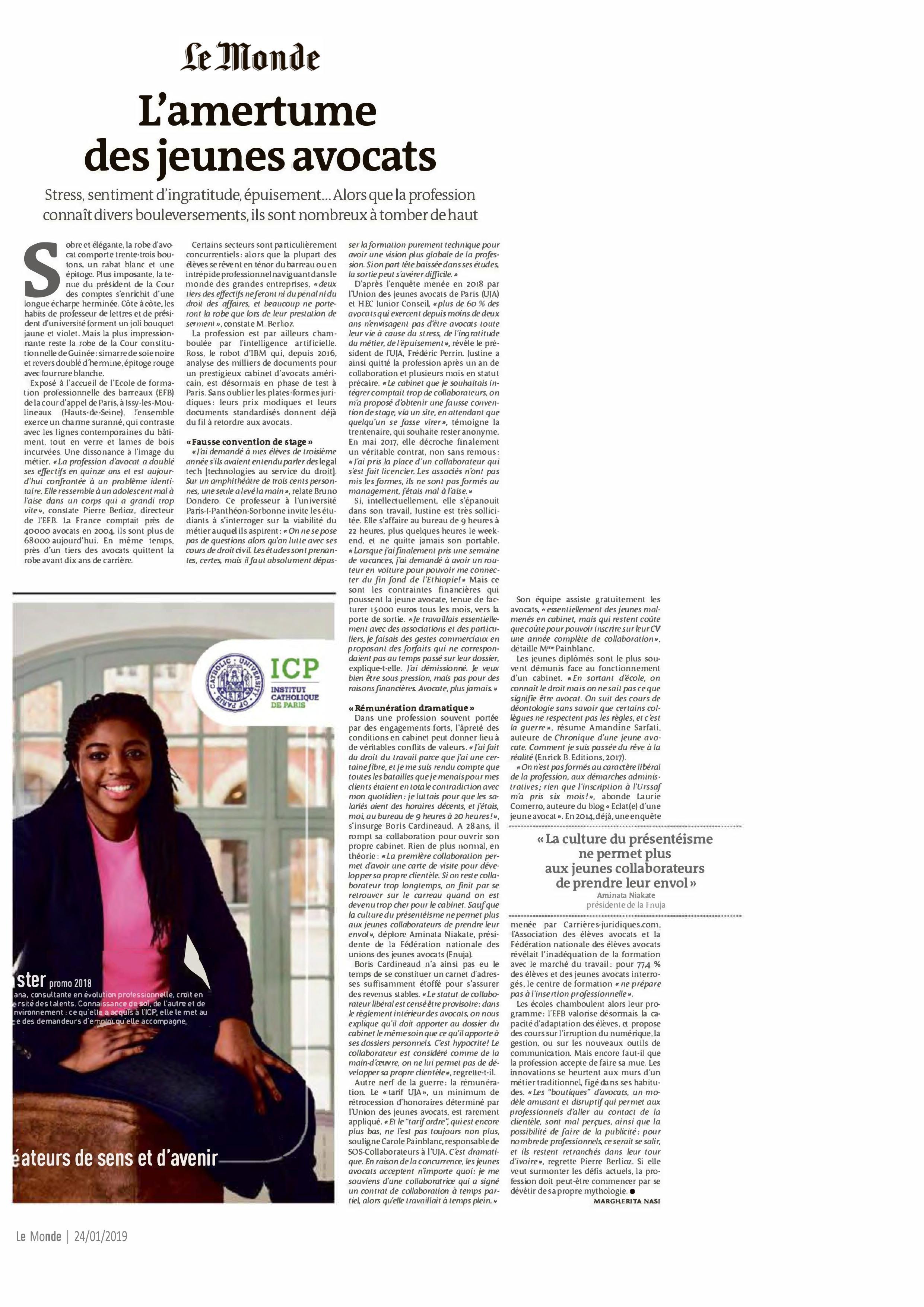 L'amertume des jeunes avocats - Le Monde - Jeudi 24 janvier 2019